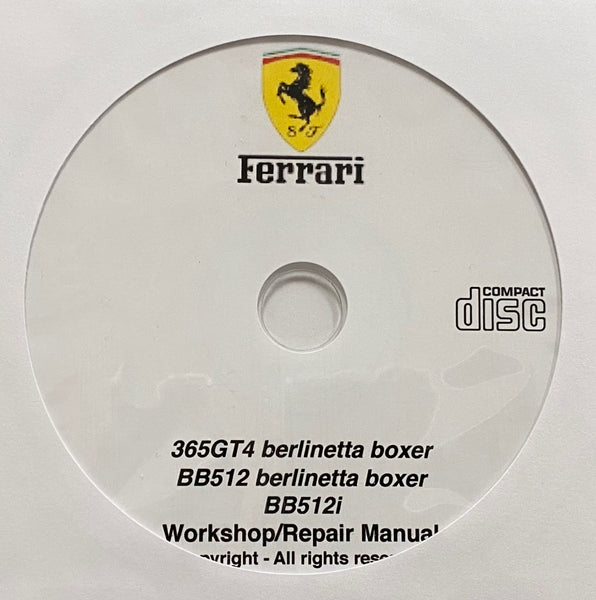 1973-1984 Ferrari 365GT4 berlinetta boxer, BB512 berlinetta boxer and BB512i Workshop Manua;l