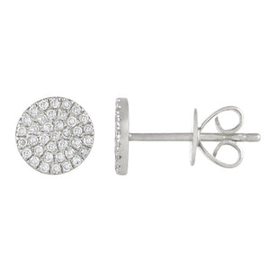 14k Gold Medium Diamond Disk Studs