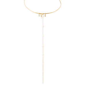 LexiMazz 14k Gold Signature Diamond Charm & Fresh Water Pearl Choker