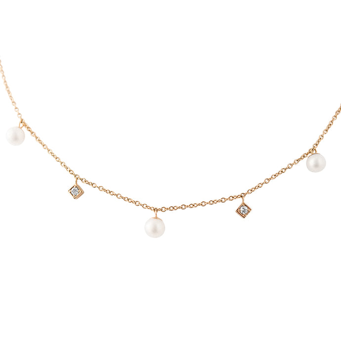 LexiMazz 14k Gold Signature Diamond & Fresh Water Pearl Necklace