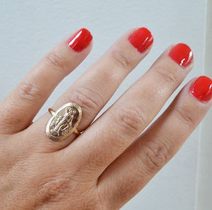 Glamrocks 14k Yellow Gold Filled Oval Virgin Mary Ring