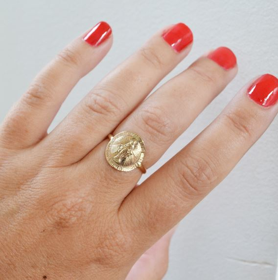 Glamrocks Mother Mary Coin Ring