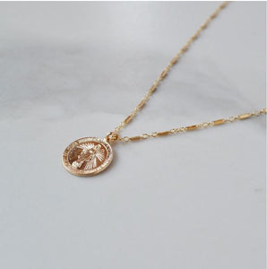Glamrocks 14k Yellow Gold Filled Mother Mary Coin Necklace