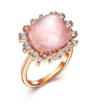 Hestia Jewels Romance Diamond Ring - Pink Quartz