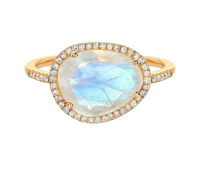 Zoe Lev 14k Gold Moonstone & Diamond Ring