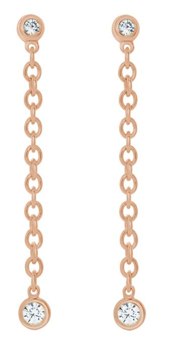 Diamond Bezel Chain Earrings