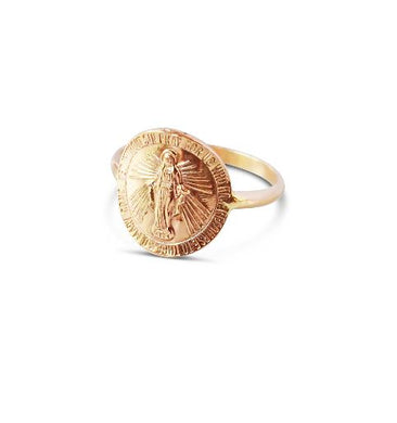 Glamrocks 14k Yellow Gold Filled Mother Mary Coin Ring
