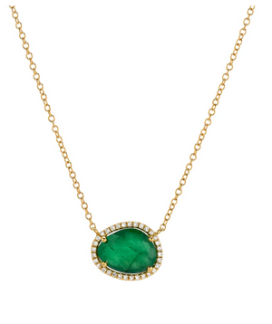 Zoe Lev 14k Gold Emerald and Diamond Necklace