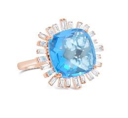 Hestia Jewels Romance Diamond Ring - Blue Topaz