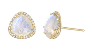Zoe Lev 14k Gold Moonstone and Diamond Earrings