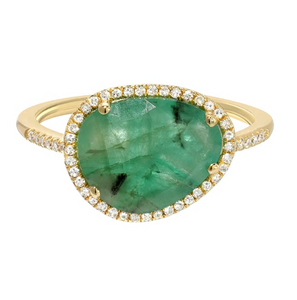 Zoe Lev 14k Gold Emerald & Diamond Ring