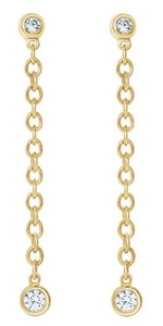 14k Gold Bezel Chain Earrings