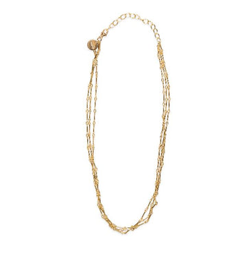 Glamrocks 14k Yellow Gold Filled Triple Strand Choker Necklace