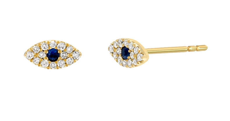 Zoe Lev Diamond & Sapphire Evil Eye Earrings