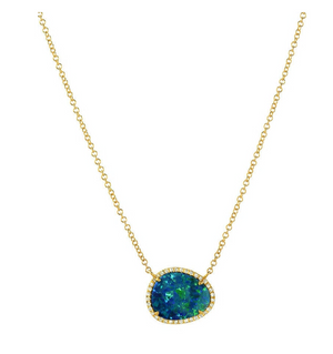 Zoe Lev 14k Gold Opal and Diamond Necklace