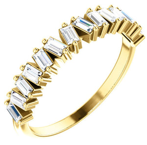 14k Gold Mismatched Diamond Baguette Ring