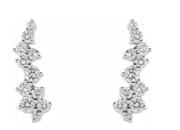 Diamond Cluster Ear Climbers