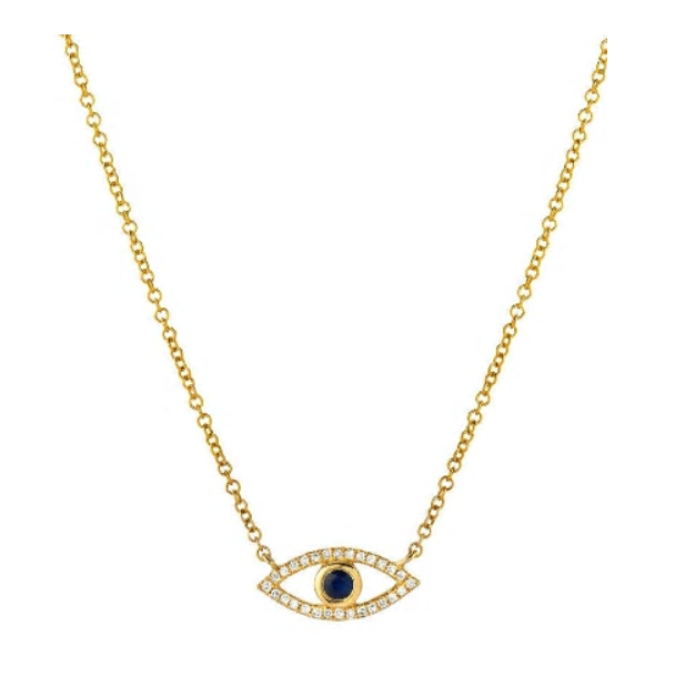 Zoe Lev 14k Gold Diamond and Sapphire Evil Eye Necklace