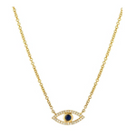 Zoe Lev Diamond & Sapphire Evil Eye Necklace