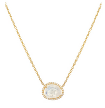 Zoe Lev 14k Gold Moonstone and Diamond Necklace
