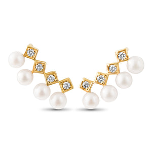 LexiMazz 14k Gold Signature Motif Diamond 4.5mm Fresh Water Pearl Ear Climber