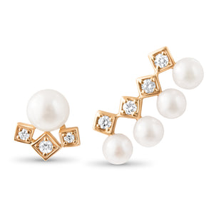 LexiMazz 14k Gold Signature Diamond Motif 5mm Fresh Water Pearl