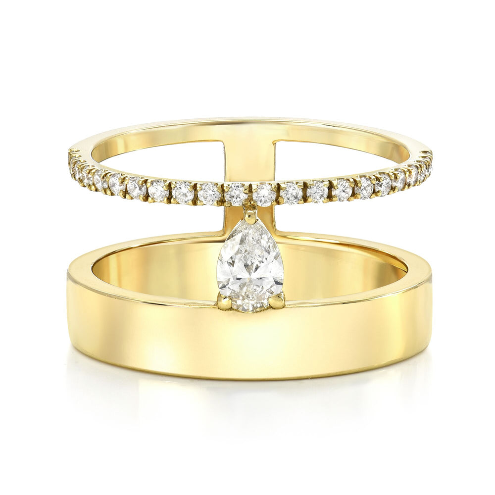 BAKTI Extended Pear Halo Ring