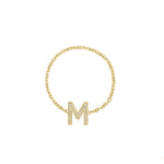 Kelly Bello Mini Pave Letter Chain Ring