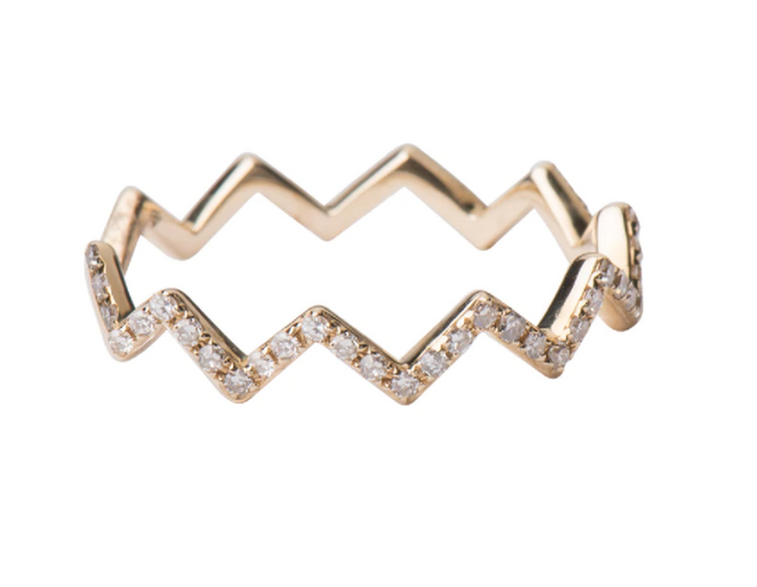 Zoe Lev 14k Gold Diamond zig zag ring