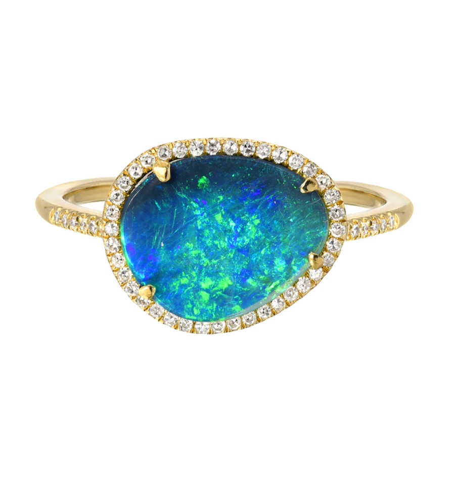 Zoe Lev 14k Gold Diamond Opal Ring