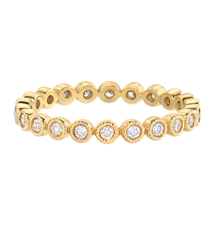 Zoe Lev 14k Gold Diamond Bezel Eternity Ring