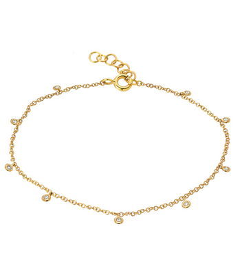 14k Gold & Diamond Anklet