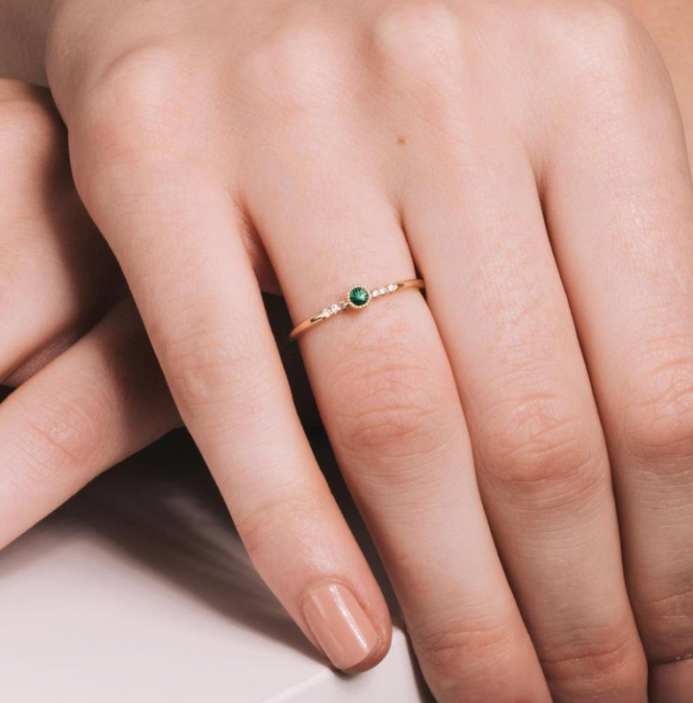 Ever Fine 'Sparkler Emerald Ring'