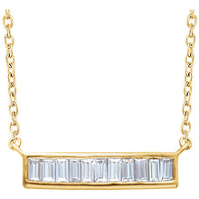 14k Gold Diamond Baguette Bar Necklace