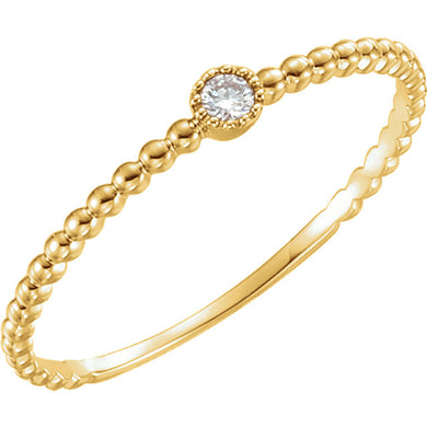 14k Gold Diamond Bezel Bead Ring