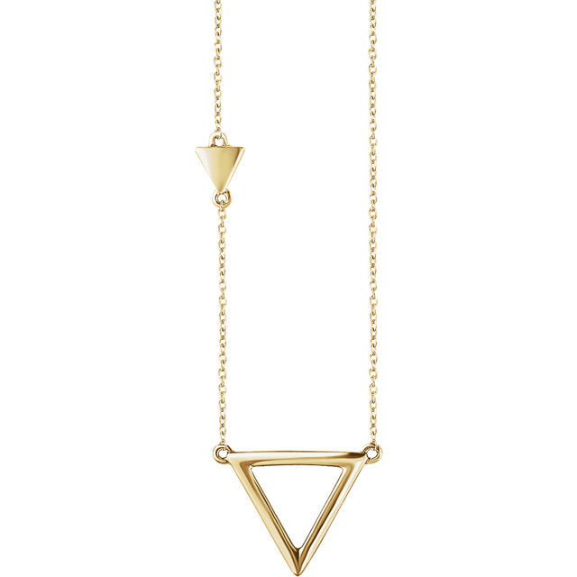 14k Gold Double Triangle Necklace