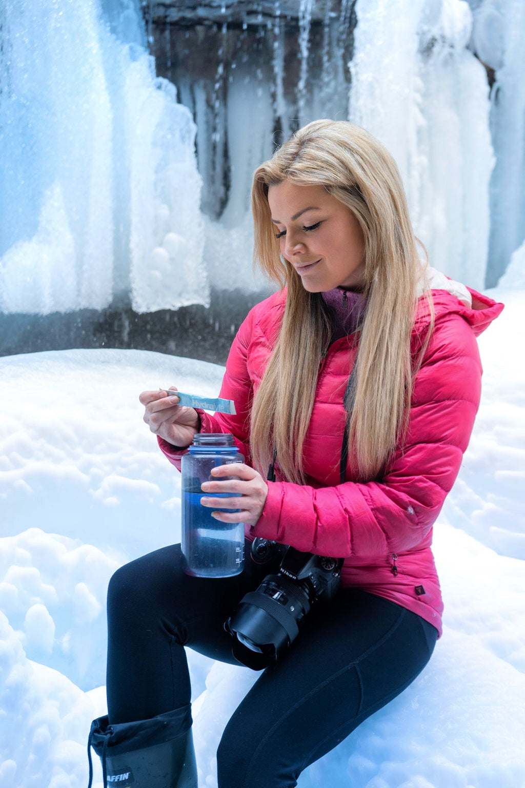 Stay hydrated while doing your favourite winter activities, such as exploring ice caves.