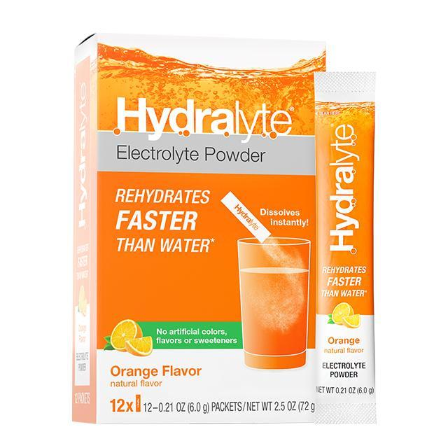 New! Hydralyte All-Natural Electrolyte Powder Sticks, Orange, 12-count