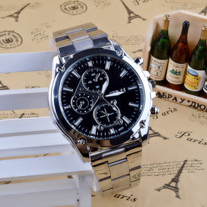 Shock resistant stainless steel quartz watch