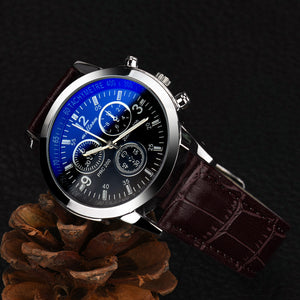Blue ray glass luxury leather strap wristwatch