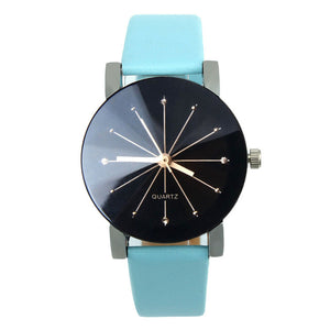 Faux brown leather strap quartz watch
