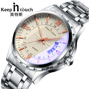 Waterproof stainless steel casual wristwatch