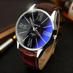 Business leather strap silver wristwatch