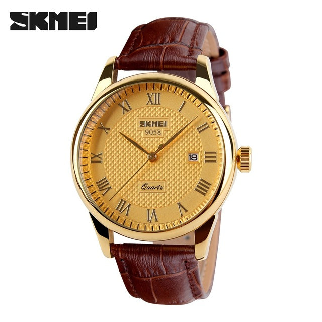 Casual brown leather golden&silver wristwatch