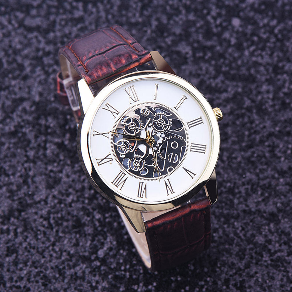 Luxury leather strap mechanical golden wristwatch