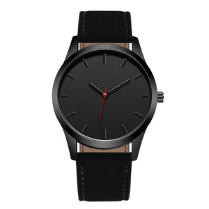 Leather band all-black analog wristwatch