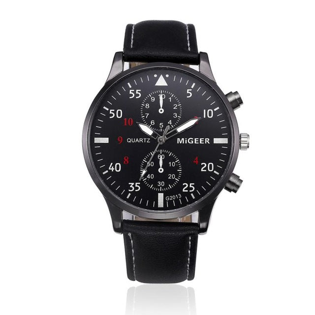 Luxury leather strap black analog wristwatch