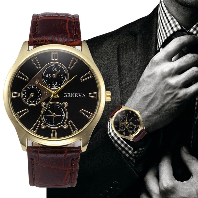 Leather band golden wristwatch