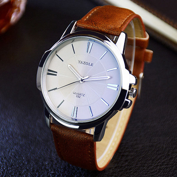 Faux leather quartz analog business wristwatch