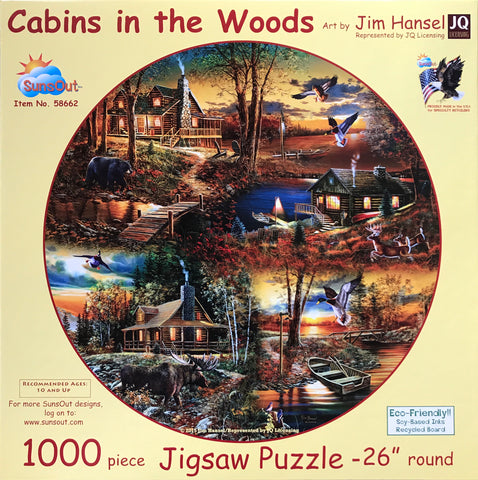 Cabins In The Woods 1000 Piece Round Puzzle